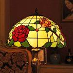 Gweat Tiffany 16 Pouces Style Pastoral Stained Glass Rose Série Lampe De Table Chambre Lumière de la marque Gweat Tiffany image 4 produit
