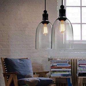 hahaemall intérieur vintage lampe à suspension Mini pendentif lumière Big Bell Abat-jour en verre (Ampoules non incluses) de la marque Hahaemall image 0 produit