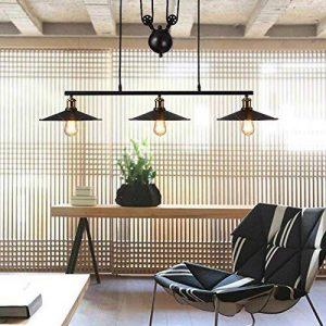 Hahaemall Suspension à 3 lampes avec poulie en fer effet rétro Noir de la marque Hahaemall image 0 produit