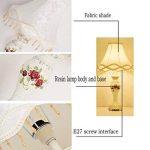 HALORI lampe de table blanc, rose sculpté style européen lampe de chevet, abat-jour en tissu, classique classique art salon lampe de table e27 lisse surface résine lampe de table de la marque HALORI image 2 produit