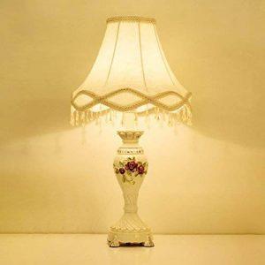 HALORI lampe de table blanc, rose sculpté style européen lampe de chevet, abat-jour en tissu, classique classique art salon lampe de table e27 lisse surface résine lampe de table de la marque HALORI image 0 produit