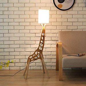 Hanamaki En Bois Original 1.1M Lampe De Plancher Chambre Éclairage Girafe Modélisation Shades Lin Blanc Moderne Chambre Cool Salon (Brun Clair) de la marque Hanamaki image 0 produit