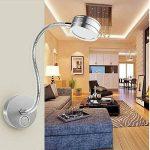 hangang 5W Lampe Chevet Murale Applique Liseuse LED Col de Cygne Lumière Lampe de Lecture avec interrupteur, pour la chambre--Argent--lumière blanche de la marque HANGANG image 1 produit