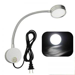 hangang 5W Lampe Chevet Murale Applique Liseuse LED Col de Cygne Lumière Lampe de Lecture avec interrupteur, pour la chambre--Argent--lumière blanche de la marque HANGANG image 0 produit