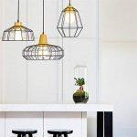 Haoaijia Lustres Pendentif Lumières Éclairage À La Maison Lampe Suspendue Cage En Bois Aluminium Abat-Jour Led Ampoule Chambre Cuisine Lumière E27, B de la marque Haoaijia Lustres image 1 produit