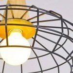 Haoaijia Lustres Pendentif Lumières Éclairage À La Maison Lampe Suspendue Cage En Bois Aluminium Abat-Jour Led Ampoule Chambre Cuisine Lumière E27, B de la marque Haoaijia Lustres image 3 produit