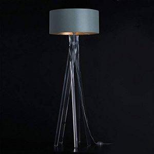 Haute Qualité Design Lampadaire Trépied avec abat-jour chintz plastique en or et trépied Gris/armature en plexiglas (acrylique) | H = 160cm | Lampadaire | Applique faite main de la marque DL-designerlampen image 0 produit