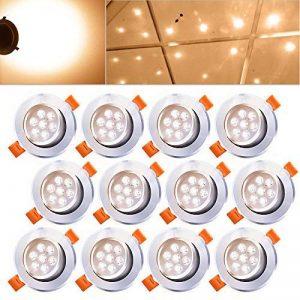 Hengda 12X 7W Spot à encastrer LED Dimmable à émerillon 30 degrés Spot encastrable design pour hall d'entrée Living aluminium satiné Lampe blanc chaud IP44 de la marque Hengda image 0 produit