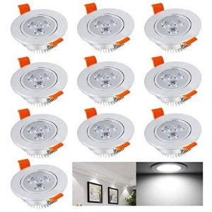HENGDA® 3W 5W 7W 10X de 20x LED Spot Encastrable Plafonnier Lampe Spot Spot Set Blanc Chaud et Froid, 3W Kaltweiß, 10X 3.00 watts de la marque Hengda image 0 produit
