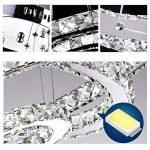 HJ® 78W Lustre de Cristal LED 2 Anneaux Dimmable avec Télécommande Lumière Chrome Plafonnier Moderne Luminaire Lampe LED Plafond suspension LED Design pour Cuisine Salle à Manger Chambre Bar de la marque hejun image 4 produit