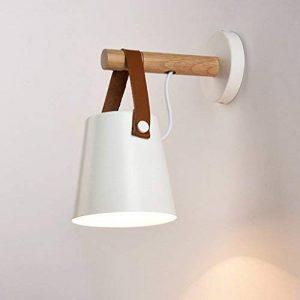 HJHY® lampe de mur, chambre Lampes de ceinture Creative Wood art lampe murale Simple restaurant chambre étude salon Appliques Lumières nordiques E27 Facile à nettoyer ( Couleur : Blanc ) de la marque Inconnu image 0 produit