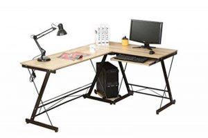 HLC Table Bureau Informatique Bureau d'Angle Ordinateur 161*120*73cm Couleur Naturelle-035 de la marque HLC image 0 produit