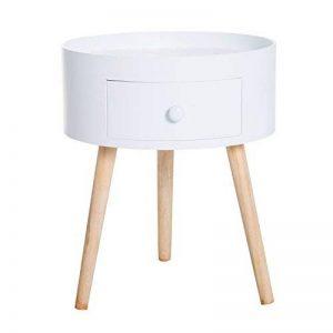 Homcom Chevet Table de Nuit Ronde Design scandinave tiroir Bicolore Pieds effilés inclinés Bois Massif chêne Clair Blanc 63 de la marque Homcom image 0 produit