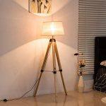 Homcom Lampadaire Trépied Hauteur Réglable 65 x 65 x 99-143 cm Lampe de Sol 40 W Bois Style Nordique de la marque Homcom image 3 produit