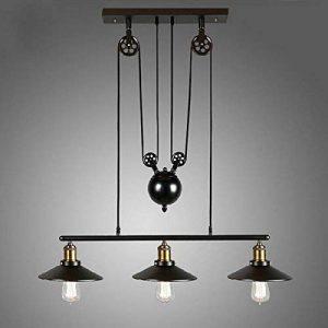 Homestia Lustre Industriel à 3 Lampes avec Poulie en Fer Effet Rétro Noir de la marque Homestia image 0 produit