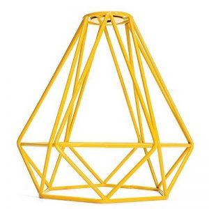 Homyl Cage Métal de Diamant Abat-Jour de Lampe au Plafond Vintage Pendentif Décor - Jaune de la marque Homyl image 0 produit