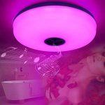 HOREVO Ø36cm IP65 imperméable à l'eau de couleur variable plafond plafonnier avec télécommande et Bluetooth haut-parleur Musique plafonnier, Smartphone APP contrôle 3000K-6500K blanc chaud / froid salle de bain blanche, lampe de salle de bains de la marqu image 2 produit