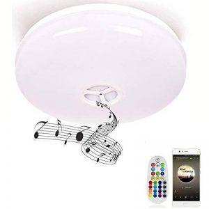 HOREVO Ø36cm IP65 imperméable à l'eau de couleur variable plafond plafonnier avec télécommande et Bluetooth haut-parleur Musique plafonnier, Smartphone APP contrôle 3000K-6500K blanc chaud / froid salle de bain blanche, lampe de salle de bains de la marqu image 0 produit