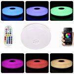 HOREVO Ø36cm IP65 imperméable à l'eau de couleur variable plafond plafonnier avec télécommande et Bluetooth haut-parleur Musique plafonnier, Smartphone APP contrôle 3000K-6500K blanc chaud / froid salle de bain blanche, lampe de salle de bains de la marqu image 1 produit
