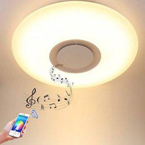 HOREVO Plafonnier LED avec Haut-parleur Bluetooth pour Musiqu, Télécommande APP, Dimmable, 24W Ø40cm 3000K-6500K RGBW Changement de Couleur Chaud/Blanc, Pendentif Lustre Smart Home Lamp Party Lamp de la marque HOREVO image 0 produit