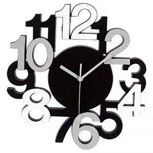 Horloge Murale Design Chiffres en Relief - Pendule Silencieuse - Noir Gris de la marque Générique image 0 produit