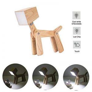 HROOME Moderne Led Design Chien Ajustable Lampe de Table de Chevet Veilleuse Touche Variateur Bois Lampe de Bureau Tactile Enfant Chambre Fille Salon de la marque HROOME image 0 produit