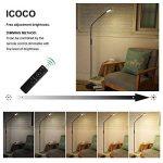 ICOCO lampadaire dimmable LED contrôlée à distance, lampadaire de salon lampe lieuse plastique et métal avec 5 niveau de luminance, bras réglable, 50000 heures durées pour lecture, 174cm de la marque ICOCO image 1 produit
