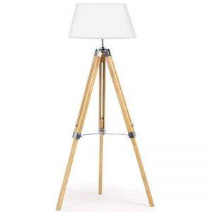 IDMarket - Lampadaire trepied bois clair réglable blanc de la marque IDMarket image 0 produit