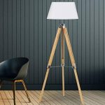IDMarket - Lampadaire trepied bois clair réglable blanc de la marque image 3 produit