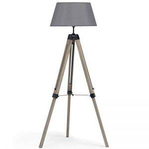 IDMarket - Lampadaire trepied bois foncé réglable gris de la marque IDMarket image 0 produit