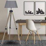 IDMarket - Lampadaire trepied bois foncé réglable gris de la marque image 3 produit