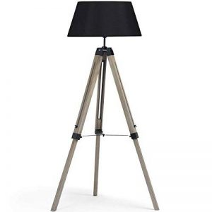 IDMarket - Lampadaire trepied bois foncé réglable noir de la marque IDMarket image 0 produit