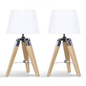 IDMarket - Lot de 2 Lampes de Chevet trépied en Bois Blanches de la marque IDMarket image 0 produit