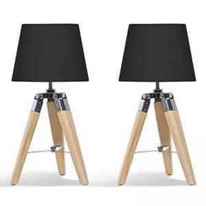 IDMarket - Lot de 2 Lampes de Chevet trépied en Bois Noires de la marque IDMarket image 0 produit