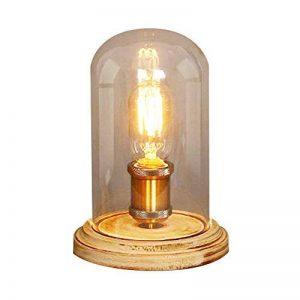 injuicy E27Edison Retro Industriel Verre Cuivre lampes de bureau Base de bois vendange Lampe de table de verre écran de chevet de lumière du bureau pour chambre salon d'être de la marque INJUICY image 0 produit