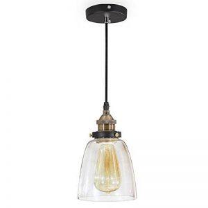 ISWEES E27 Lampe Suspension Lustre Cage en Verre Abat-jour avec Douille Eclairage de Plafond Style Industrielle Vintage Retro de la marque ISWEES image 0 produit