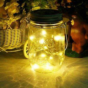 JDXS Mason lid-001 Jar Light Lanterne solaire en verre 20Leds Suspension Suspension Outdoor Balcon Lampe de Table pour Extérieur Décoration pour Maison Fête Mariage (Blanc Chaud de la marque JDXS image 0 produit