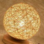 JIAHONG Creative round Hemp ball lampe de table LED, tissé à la main naturelle rotin artisanat de haute qualité éclairage de chevet lampe de table décorative ( Size : 22cm ) de la marque AILI image 4 produit