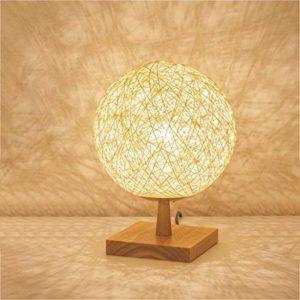 JIAHONG Lampe de bureau en forme de sphère tissée, base carrée en bois massif, chambre à coucher chaude, chevet, lumière de nuit, lampe LED E27, blanc de la marque AILI image 0 produit