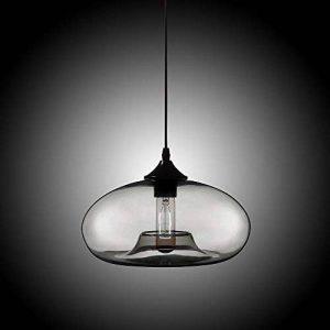 JiaYouJia 1 Lampe Suspension Lustre Abat-jour en Verre Coloré Ovale Concave Décoration pour Café Bar Salon Chambre d'enfant / Bébé Moderne (Gris) de la marque JiaYouJia image 0 produit