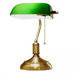 JILAN HOME- Lampe de table de bureau Antique Banker Antique avec abat-jour en verre vert et lumières Alloy fond E27 de la marque Table lamp image 0 produit