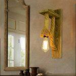 JLXMZX American retro mur lampe créative salon chambre escalier allée applique murale jardin solide chanvre bois corde applique murale E27 * 1 (y compris la lumière) 18 * 37 (CM) de la marque JLXMZX image 2 produit