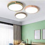 Joeyhome Moderne bref rond lampes en métal avec caoutchouc bois acrylique abat-jour matériau coloré plafonniers plafonnier LED, vert, Dia 33cm blanc chaud de la marque Joeyhome image 4 produit