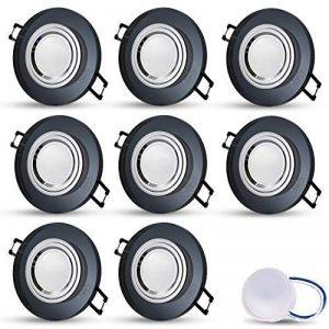 JVS Spot LED encastrable en verre, noir, extra-plat, modèle Cristal, rond, avec module LED 5W, blanc chaud, profondeur d'encastrement: 30mm, 230V, IP20, pour le plafond, 8er Set 5.00W 230.00V de la marque JVS image 0 produit