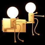 KAWELL Créatif Rétro Applique Murale Intérieur Vintage Lampe murale Industriel Lampe de Mur Fer à Repasser Art Déco E27 Base pour Bar, Chambre à Coucher, Cuisine, Restaurant, Café, Couloir, Blanc x 2 de la marque KAWELL image 2 produit
