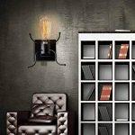 KAWELL Créatif Rétro Applique Murale Intérieur Vintage Lampe Murale Industriel Lampe de Mur Fer à Repasser Art Déco E27 Base pour Bar, Chambre à Coucher, Cuisine, Restaurant, Café, Couloir,Noir de la marque KAWELL image 4 produit