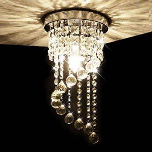 KAWELL Moderne Lustre en Cristal Lampe de Plafond Plafonnier Lumière K9 Cristal Abat-jour Chrome Acier Inoxydable pour Chambre à Coucher, Couloir, Salon (Hauteur 37CM, Diamètre 20CM) de la marque KAWELL image 0 produit