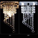 KAWELL Moderne Lustre en Cristal Lampe de Plafond Plafonnier Lumière K9 Cristal Abat-jour Chrome Acier Inoxydable pour Chambre à Coucher, Couloir, Salon (Hauteur 37CM, Diamètre 20CM) de la marque KAWELL image 1 produit