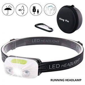 King-Pin stirn1 Mini lampe frontale USB rechargeable étanche et légère 7 modes d'éclairage Idéal pour la course à pied, le jogging Campen, le cyclisme (lampe frontale LED à induction blanc), 3 W de la marque King-Pin image 0 produit