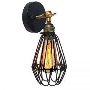 KINGSO E27 Lampe Suspension Abat-jour Cage en fer Plafonnier Applique Murale avec Douille Lustre Vintage Retro Industrielle Noir de la marque KINGSO image 0 produit